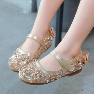 girls Rhinestone Glitter princess flat dance shoes