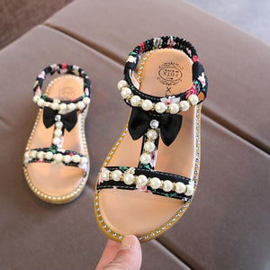 Girls Sandals Princess Korea New 2018 Summer Fashion Sandals Pearl Child Student Baby Beach Flat Shoes Kids