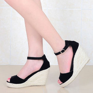 MCCKLE Plus Size Bohemian Women Sandals Ankle Strap Straw Platform Wedges For Female Shoes Flock High Heels Cover Heel Sandal