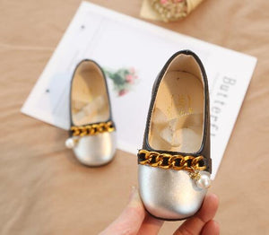Silver & Black Girls PU Leather Shoes with Gold Chain & Pearl, New Fashion Students Casual Sneakers