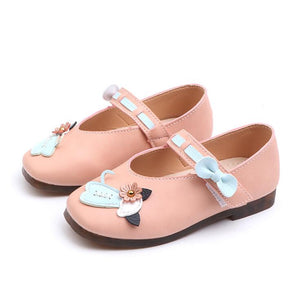 New Spring Girls Casual Shoes Cartoon Cat Square Toe Flat Shoes Children Soft Sole Hook&Loop Princess School Sneakers
