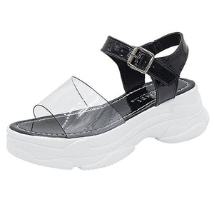 Woman Sals Platform Fe Summer Sals Black Transparent Buckle Strap Gladiator Sals Women Casual DE