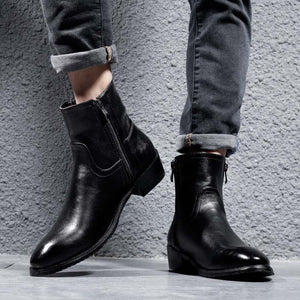 Masorini Genuine Leather Cowhide Winter Boots Men High ZipTop Chelsea Boots British Fashion Style Black Bootes Men WW-139