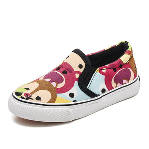Low Top Kids Girls Canvas Spring Autumn Slip On Children Casual Graffiti Boys Sneakers