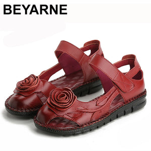BEYARNE  Xiuteng Brand Woman Handmade Floral Genuine Leather Sandals Women Flats For Women Flat with Slipper Ladies Summer Shoes