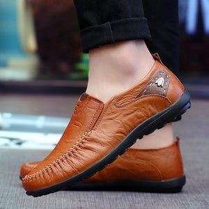 New 2019 Casual Men Shoes Slip On Loafers Spring and Autumn Mens Moccasins Genuine Leather Men's Flats Shoes Big Size 37-47