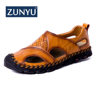 ZUNYU New Men Cow Leather Sandals Outdoor 2019 Summer Handmade Men Shoes Men Breathable Casual Shoes Footwear Walking Sandals