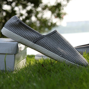 Men Casual Shoes Summer Breathable Male Fashion Weaving Soft Shoes Slip on Mesh Man Flat Casual Sneakers