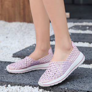 Ngouxm 2019 New Women Woven Shoes lady Fashion Loafers Casual flat Handmade Gingham slip on Nylon shoes woman