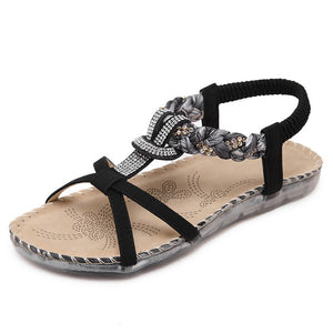 MVVJKE Women Shoes 2018 New Summer Fashion Women Sandals Rhinestone Flats With Leisure Beach Shoes Big Size 35-42