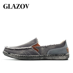 GLAZOV New Arrival Spring Mens Breathable High Quality Casual Shoes Jeans Canvas Casual Shoes Slip On men Fashion Flats Loafer
