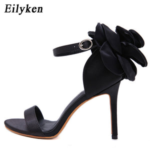 Eilyken Fashion Flower Women's Sandals High Heels Buckle Strap Sandals Heels 10.5cm Summer Party Women shoes Black