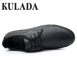 KULADA 2019 Men Shoes Summer Sandals Natural Fashion Hollow-Out Leather Casual Comfortable Men Boat Shoes