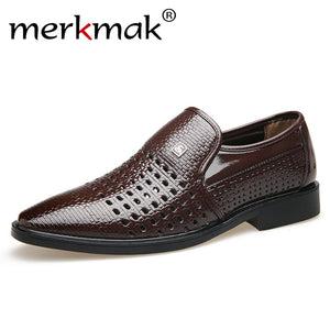 merkmak 2019 New Summer Vintage Men's Leather Shoes Genuine Leather Soft Bottom Slip-on Sandals Hollow out Weave Shoes 38-44