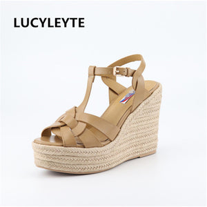 LUCYLEYTE 2019 Roman style wedge with women's sandals feet nude with fish mouth women's shoes rubber sole sexy women's sandals