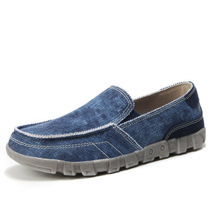 Summer Denim Casual Shoes Canvas Low Male Shoes Breathable Flats Men Casual Shoes Slip on Men Fashion Jeans Canvas Lazy Shoes