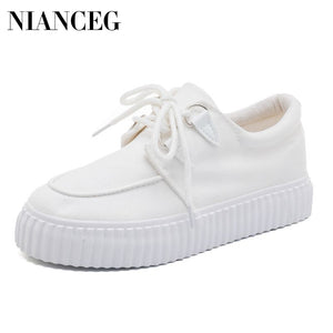 Sneakers Women Flats White Shoes Platform Lace Up Woman Casual Canvas Shoes Thick Heels Spring Summer Female Plus Size Footwear