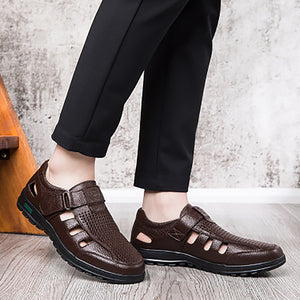 Men's Sandals Genuine Leather Summer Clogs Hollow Breathable Hook Loop Walking Sandals For Men Cozy Brown Shoes Male Sandles