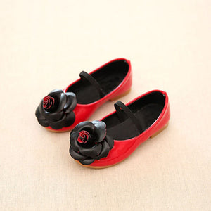 Floral Spring Girls Shoes Children Black Red Pink Flat Single Shoes Kids Princess PU Leather Shoes for Girl