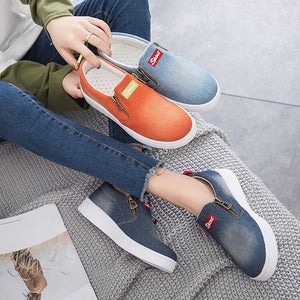 Women Canvas Shoes Slip On Flat Vulcanized Shoes Spring Casual Female Denim Fashionable Sneakers Breathable Zipper Footwears