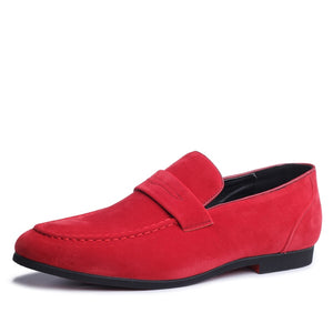 ZERO MORE Slip On Red Men Shoes Solid Faux Suede Loafers For Man Footwear Casual Breathable Big Men Shoes Large Sizes Drivings