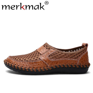 Merkmak 2019 Summer Mesh Shoes Mens Hollow Breathable Male Casual Shoes Leather Slip On Large Size 38-50 Shallow Man Soft Flat