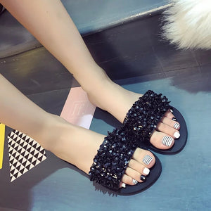 9374P shoes female summer new with diamond flat flat thong toe cool shoes