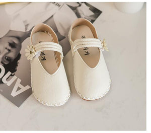 Leather Kids Shoes Spring PU Cute Flower Princess Party Elegant Wedding Shoes For Girls Flat Casual Girls Shoes Size 26-30