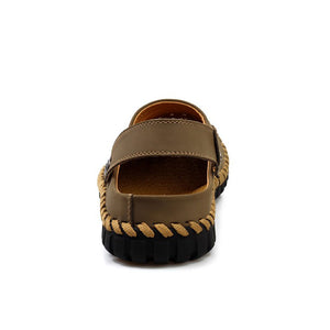 100% Genuine Leather Sandals Men Flat Heel Summer Shoes 2019 Mens Sandals Male Casual Brand Shoes Soft Beach Sandals CH2076