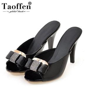 TAOFFEN Women Patent Leather Thin Heel Sandals Open Toe Bowtie Crystal Slippers Summer Fashion Daily Shoes Women Size 32-43