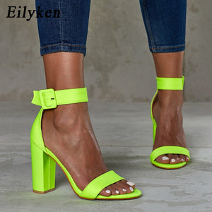 Eilyken Summer Fluorescent green Peep Toe High Heel Women Sandals Buckle Strap Ankle-wrap Ladies Sandals Casual Shoes size 35-42