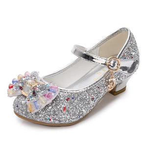 Children Gold Flower Pearls Shoes Girls High Heel Sandals Kids Wedding Shoes Children Size 26-37 Colors Good Quality