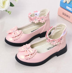 Autumn New Girls Leather Shoes Princess Sweet Black Party Kids Shoes Fashion Girl Medium Children Flats