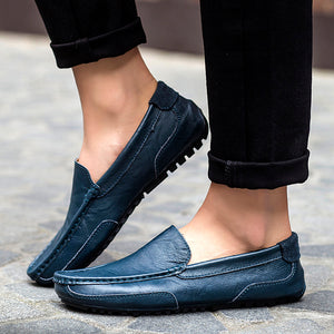 Mens Casual Shoes Leather Brand Boat Shoes for Men fashion Genuine Leather Shoes Slip On Loafers Male Driving shoes WalkerPeak