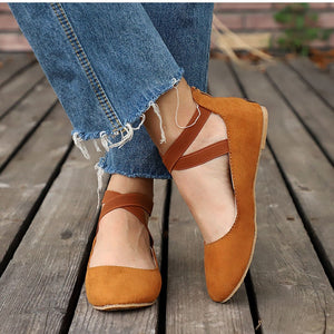 Woman Elastic Band Shoe Rome Style Flats Casual Female Footwear