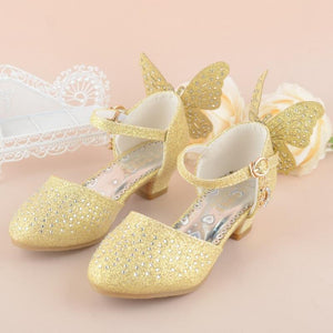 Summer Children Sandals Kids PU Leather Buckle Strap Princess Shoes For Girls Party Glitter Butterfly High heel Sandals