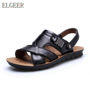 2018 summer beach shoes men's trend casual non-slip sandals 100% leather men's sandals shoe