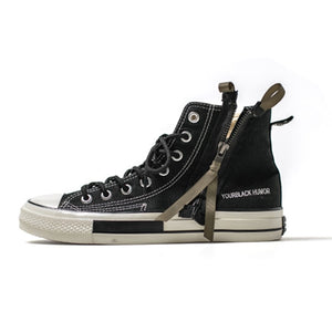 High Top Canvas Shoes Men Sneakers Lace-up Unisex Casual Shoes with Side Zipper Classic Retro Style Black High Quality Female