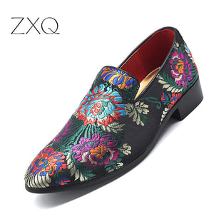 Hot Sale Embroidered Loafers Men Smoking Slippers Male Wedding and Party Dress Shoes Size 38-48 Free Shipping