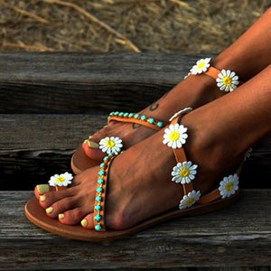 Women Sandals 2019 New Summer Shoes Woman Flower Flat Sandals Plus Size Gladiator Sandalias Mujer Slip on Beach Summer Sandals