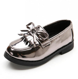 Girls Black Dress Leather Shoes For Children Wedding Patent Leather Kids School Shoes Flat Fashion Rubber Size 26-35