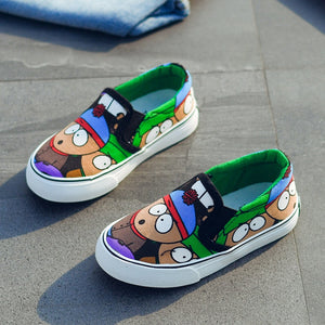 Low Top Kids Shoes Girls Canvas Shoes Spring Autumn Slip On Children Casual Shoes Graffiti Sport Boys Sneakers