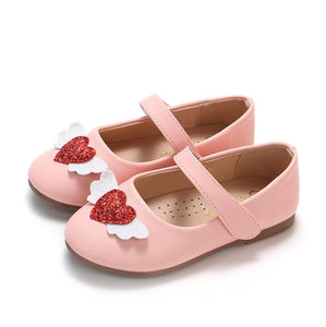 Kids Flats For Girls Shoes New Sweet Girl Love Leather Shoes Shallow Mouth Princess Shoes For Children Soft Shoes Size 21-30