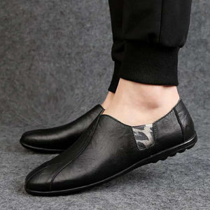 2019 Leather Men Shoes Luxury Brand 2019 Italian Casual Mens Loafers Moccasins Breathable Slip on Black Driving Shoes Plus Size