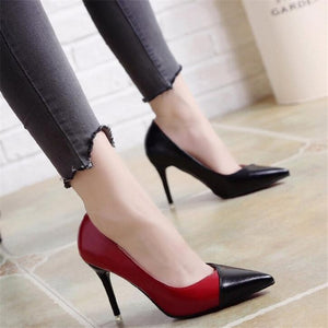 2018 Women Pumps OL Fashion Spell Color High heels Single Shoes Female Spring Summer Patent leather Wedding Party shoes Woman