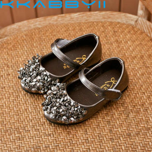 Hot Autumn Girls Leather Shoes Children Girls Baby Princess Sneakers Pearl Diamond Shoes Kids Dance Shoes