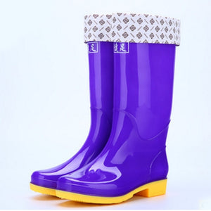 Coolcept 12 Color Women Rain Boots Waterproof Solid Color Knee High Boots Outdoor Rubber Water Shoes For Female Size 36-41
