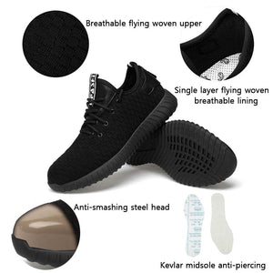 Fashion steel toe light Safety Shoes men bot breathable work Shoes flying  steel toe caps Anti-piercing fiber men