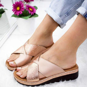 Women Artificial PU Sandal Shoes Orthopedic Bunion Corrector Comfy Platform Wedge Ladies Casual Big Toe Correction Slippers