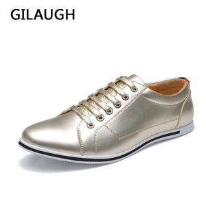 GILAUGH Big Size 38-50 Fashion Classic Style Men Shoes, Gold Silver Simple Designer Men Casual Shoes